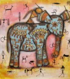 Pradeep Swain | Acrylic Painting title Riding Elephant Tribal Painting Blue on Canvas | Artist Pradeep Swain Gallery | ArtZolo.com