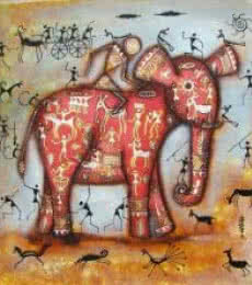Riding Elephant Tribal Painting Pink | Painting by artist Pradeep Swain | acrylic | Canvas