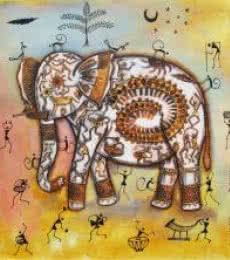 Animals Acrylic Art Painting title Elephant Tribal Painting Ii by artist Pradeep Swain