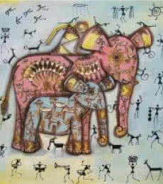 Elephant With Baby Tribal Painitng Blue | Painting by artist Pradeep Swain | acrylic | Canvas