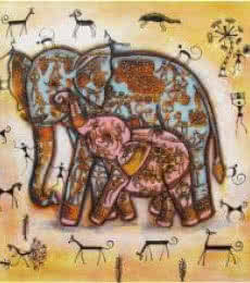 Elephant With Baby Tribal Painitng Yellow | Painting by artist Pradeep Swain | acrylic | Canvas