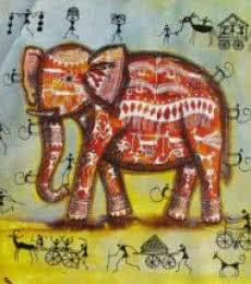 Animals Acrylic Art Painting title 'Elephant Tribal Painting I' by artist Pradeep Swain