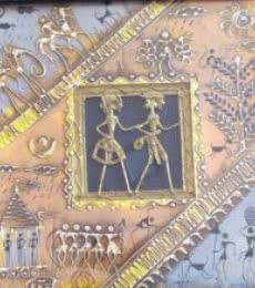 Folk Art Tribal Art Painting title 'Dokra Art 15' by artist Pradeep Swain