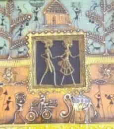 Folk Art Tribal Art Painting title 'Dokra Art 16' by artist Pradeep Swain