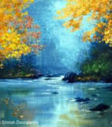 Landscape Acrylic Art Painting title Jungle Stream by artist Shirish Deshpande