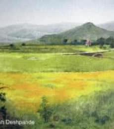 Landscape Oil Art Painting title Mustard Fields by artist Shirish Deshpande