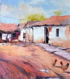 Landscape Watercolor Art Painting title Village Secnic by artist Amit Kapoor