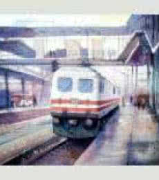 Landscape Watercolor Art Painting title 'Platform 2' by artist Amit Kapoor