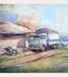 Landscape Watercolor Art Painting title 'Old Van' by artist Amit Kapoor