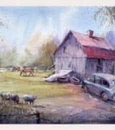 Landscape Watercolor Art Painting title 'Farm' by artist Amit Kapoor