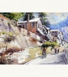 Landscape Watercolor Art Painting title 'Morning of Shimla' by artist Amit Kapoor