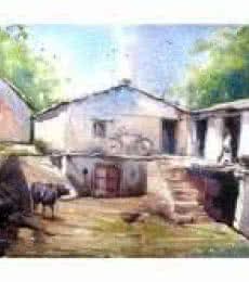Aangan   Painting by artist Amit Kapoor   watercolor   Handmade Paper