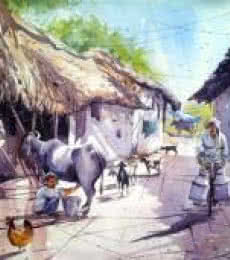Milk Man   Painting by artist Amit Kapoor   watercolor   Handmade Paper