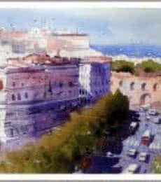 Cityscape Watercolor Art Painting title 'Beauty Of Rome' by artist Amit Kapoor
