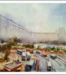 Cityscape Watercolor Art Painting title 'Howrah Bridge in Kolkata' by artist Amit Kapoor