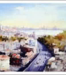 Cityscape Watercolor Art Painting title 'Mumbai I' by artist Amit Kapoor