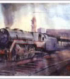 Steam Engine | Painting by artist Amit Kapoor | watercolor | Paper