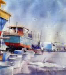 Cityscape Watercolor Art Painting title 'Vishakapatnam Port I' by artist Amit Kapoor