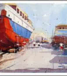 Cityscape Watercolor Art Painting title 'Vishakapatnam Port II' by artist Amit Kapoor