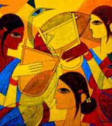 Jiaur Rahman | Acrylic Painting title Tribal Women on Canvas | Artist Jiaur Rahman Gallery | ArtZolo.com