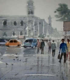 Cityscape Watercolor Art Painting title Rainy Day by artist Jiaur Rahman