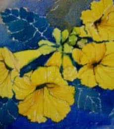 Yellow Flower | Painting by artist Jiaur Rahman | watercolor | Paper