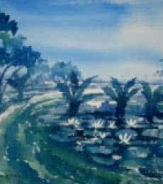Landscape Watercolor Art Painting title Landscape by artist Jiaur Rahman