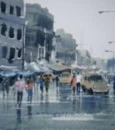 Cityscape Watercolor Art Painting title Rainy Day by artist Jiaur Rahman