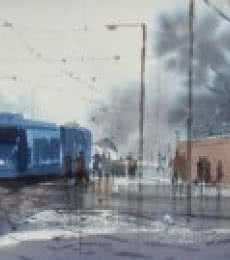 Cityscape Watercolor Art Painting title Rainy Day In Kolkata by artist Jiaur Rahman