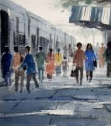 Jiaur Rahman | Watercolor Painting title Life Journey on Paper | Artist Jiaur Rahman Gallery | ArtZolo.com