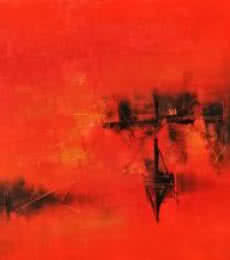 Abstract Acrylic Art Painting title 'Rad ' Red I' by artist Raju Durshettiwar