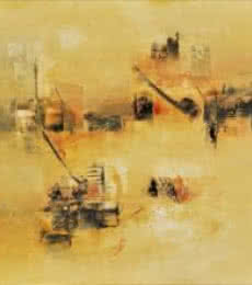 Raju Durshettiwar Paintings | Acrylic Painting title Subtle Ochre by artist Raju Durshettiwar | ArtZolo.com