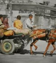Dr.uday Bhan | Watercolor Painting title Horse Cart on paper | Artist Dr.uday Bhan Gallery | ArtZolo.com