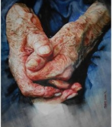 Figurative Watercolor Art Painting title 'Loving Hands ' by artist Dr.uday Bhan