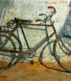Old Cycle | Painting by artist Dr.uday Bhan | watercolor | Paper
