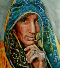 Dr.uday Bhan | Watercolor Painting title Veil Of A Softer Light on Paper | Artist Dr.uday Bhan Gallery | ArtZolo.com