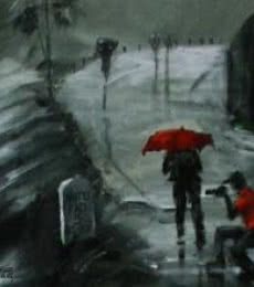 Scenic Acrylic Art Painting title Rain Click II by artist Mopasang Valath