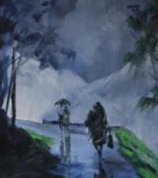 Walking In the Rain II | Painting by artist Mopasang Valath | acrylic | Canvas