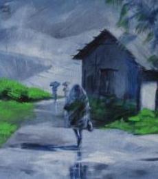 Walking In The Rain I | Painting by artist Mopasang Valath | acrylic | Canvas