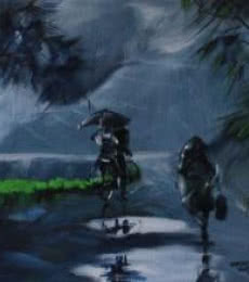 Mopasang Valath | Acrylic Painting title Rainy Day on Canvas | Artist Mopasang Valath Gallery | ArtZolo.com