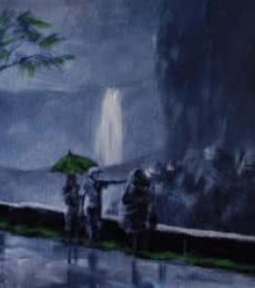 Scenic Acrylic Art Painting title 'Purple Rain' by artist Mopasang Valath