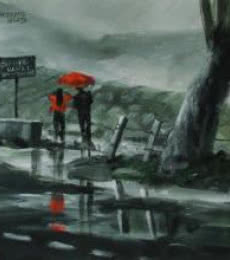 Scenic Acrylic Art Painting title 'Enjoying The Rain' by artist Mopasang Valath