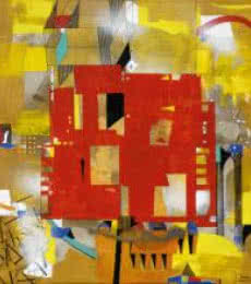 Abstract Acrylic Art Painting title 'Urban Scape II' by artist Prabhinder Lall