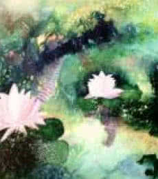 Nature Acrylic Art Painting title 'Lotus Pond' by artist Shuchi Khanna