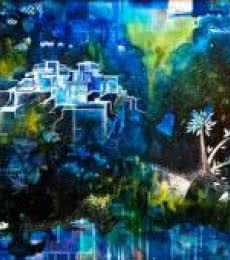 Blissful Blues | Painting by artist Shuchi Khanna | mixed-media | Canvas
