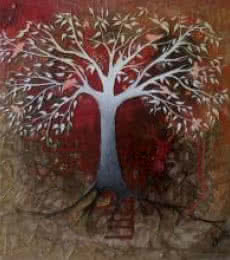 Realistic Mixed-media Art Painting title 'Red Tree' by artist Shuchi Khanna