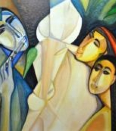 Krishna with Gopis | Painting by artist Shuchi Khanna | acrylic | Canvas