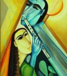 Figurative Acrylic Art Painting title 'Radha Krishna' by artist Shuchi Khanna