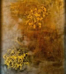 Abstract Mixed-media Art Painting title 'Golden' by artist Shuchi Khanna