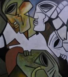 Kapil Kumar | Acrylic Painting title Multiples Faces II on Canvas